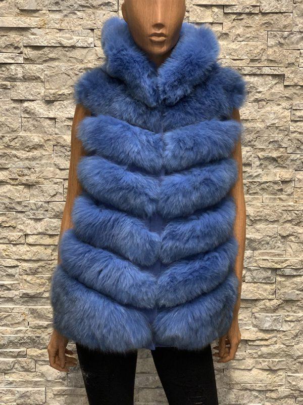 Lang blauw dames bontvest vossenbont detail