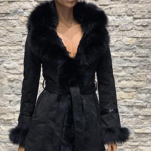 Zwarte dames lammy coat kunstleer