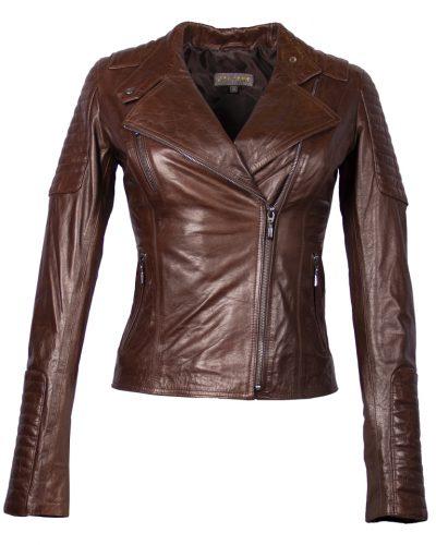 Leren dames biker jas bruin beko bestellen