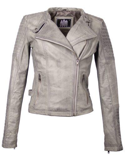 Leren kort dames jas biker grijs besto bestellen
