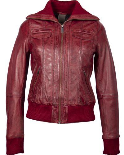 Leren bomber dames jas rood bomberdina bestellen