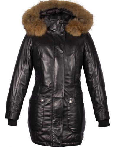 Leren parka gewatteerde jas dames met afneembaar capuchon en bontkraag zwart- lila bestellen