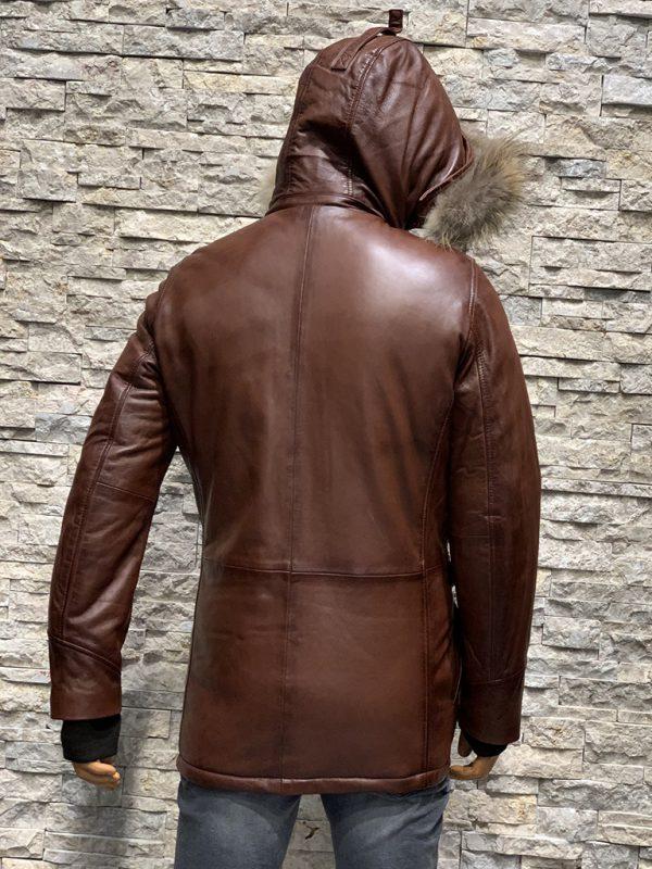 Leren jas parka heren met bontkraag achterkant