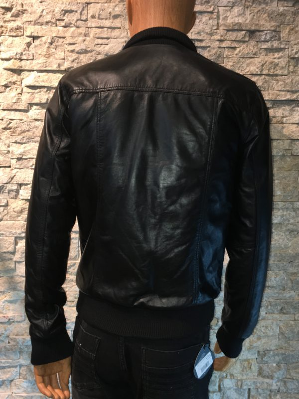 Leren lams jas voor heren zwart achterkant