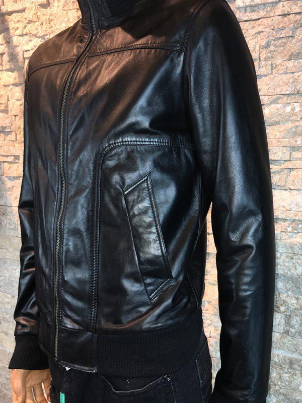 Leren lams jas voor heren zwart detail