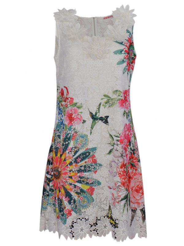 Mouwloze witte zomerjurk met bloemmotief