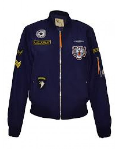 Navy blauwe Bomberjack dames met patches