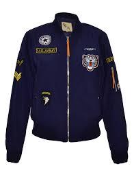 Navy blauwe Bomberjack dames met patches