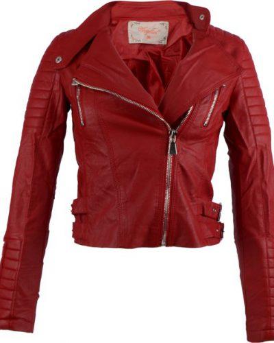 Rode Bikerjack voor dames - Kunstleer