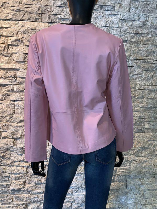 Roze leren dames jas achterkant