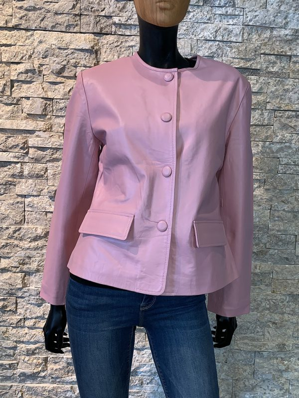 Roze leren dames jas