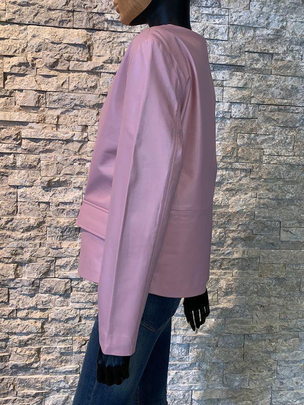 Roze leren dames jas zijkant