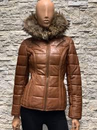 Winter dames leren jas bob met afneembaar capuchon
