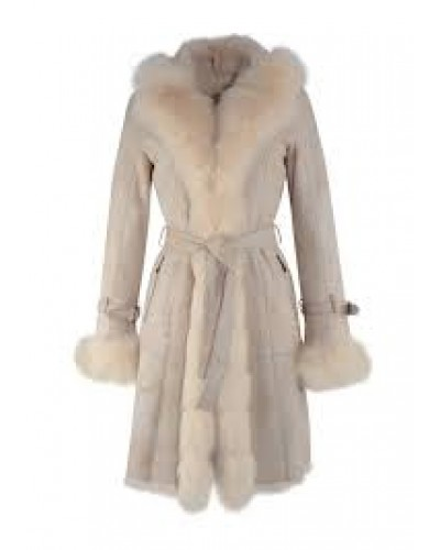 Witte lange Dames Lammy Coat - Met 100% echt bont - Crème
