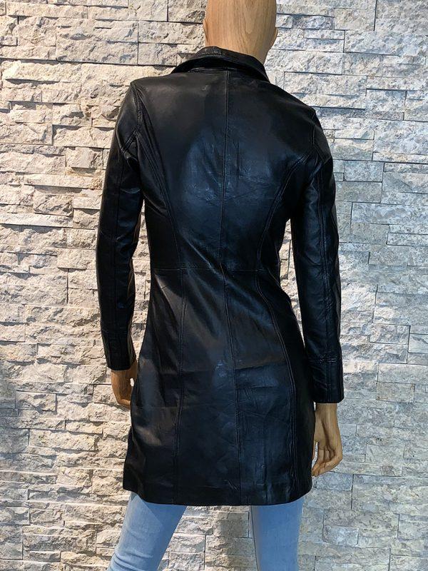 Zomer halflange leren dames jas achterkant