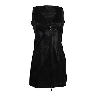 Zwart kort leren jurk van 100% Echt leer 300x300