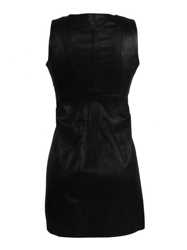 Zwart kort leren jurk van 100% Echt leer