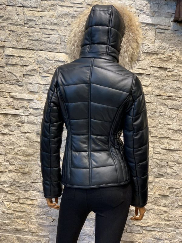 Zwart lamsleren dames winterjas achterkant