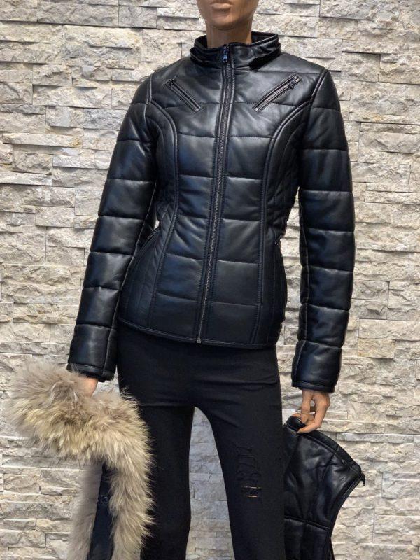 Zwart lamsleren dames winterjas detail