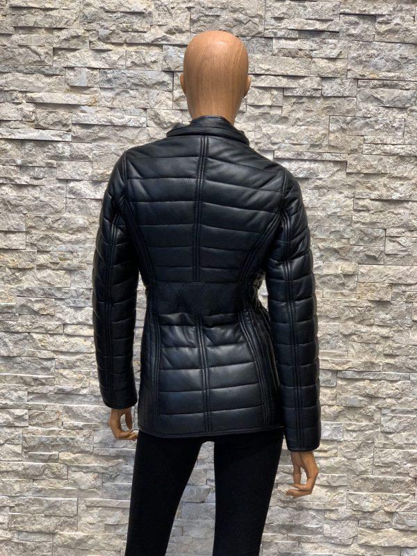 Zwart lamsleren dames winterjas zonder capuchon