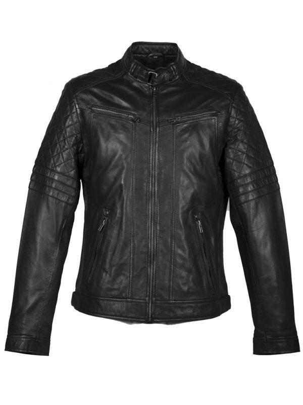 Zwart lamsleren heren biker jas