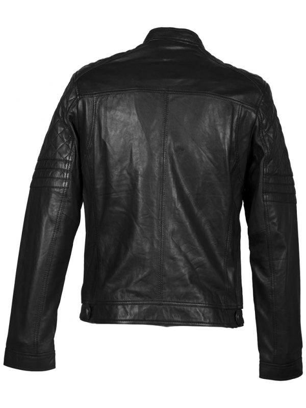 Zwart lamsleren heren biker jas achterkant