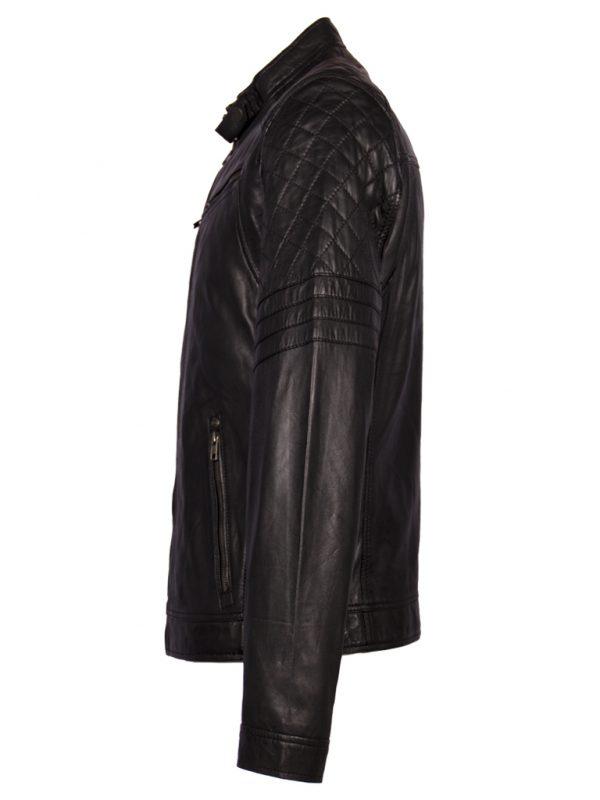 Zwart lamsleren heren biker jas zijkant