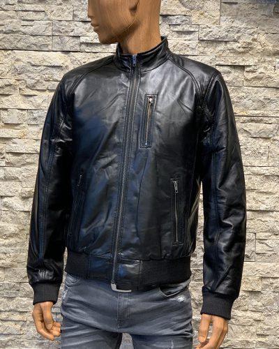 Zwart leren bomber jas voor heren