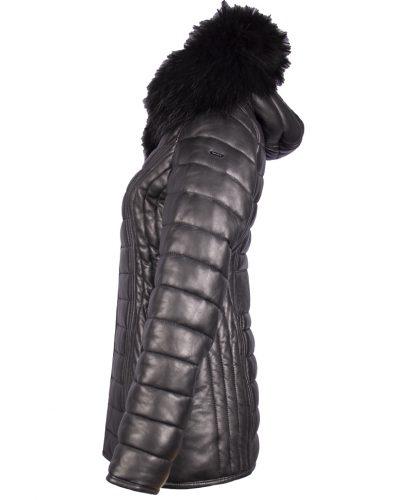 Leren dames jas  zwart met capuchon en bontkraag-Arizona bestellen