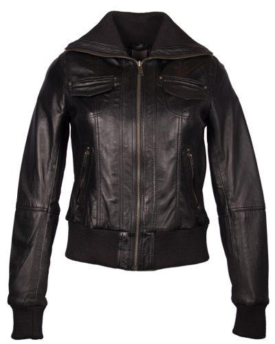 Leren bomber dames jas zwart bomberdina bestellen