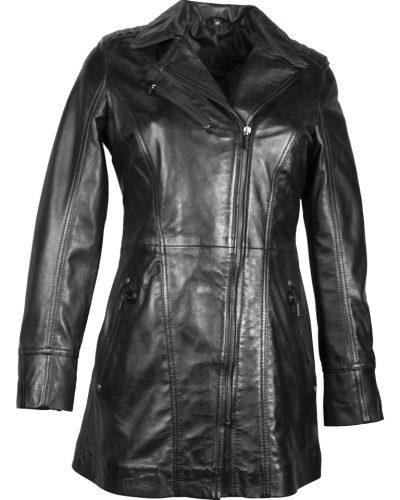 Leren zwart half lang dames jas sofi bestellen