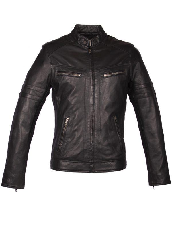 Zwart leren biker jas heren 4042