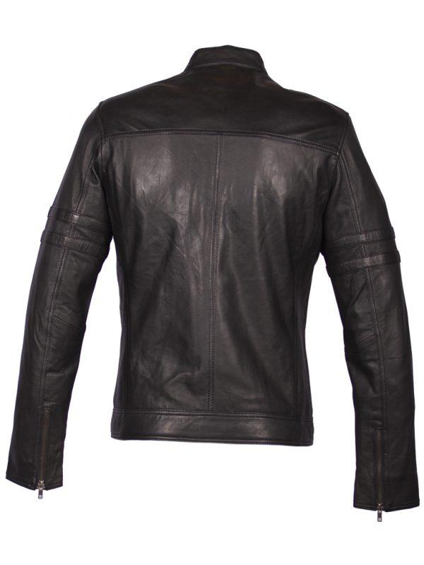 Zwart leren biker jas heren 4042 achterkant
