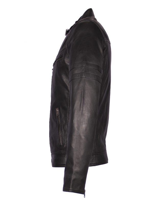 Zwart leren biker jas heren 4042 zijkant