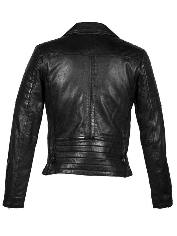 Zwart leren heren biker jas met ritsen achterkant