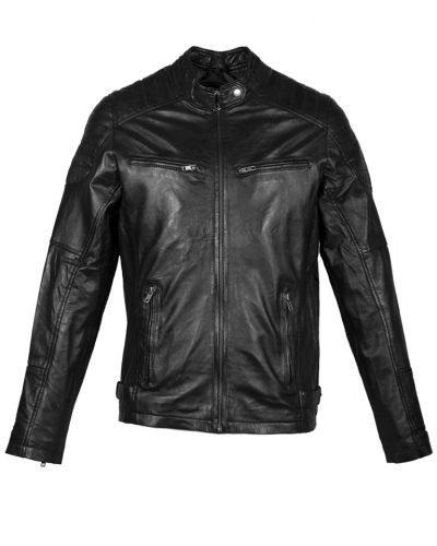 Zwart leren heren biker jas Urban voorkant