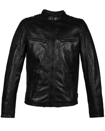 Zwart leren heren biker jas 4051