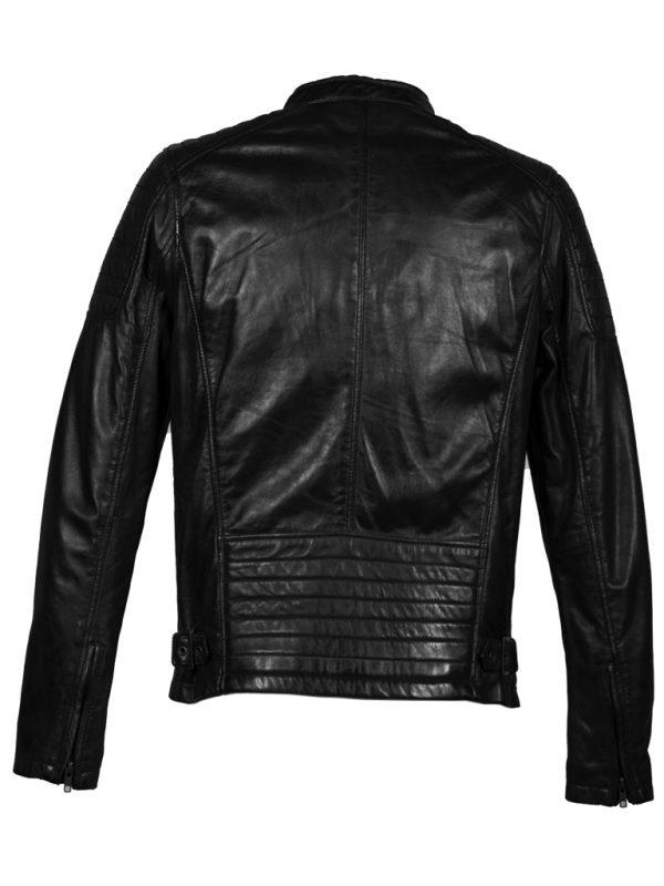 Zwart leren heren biker jas 4051 achterkant