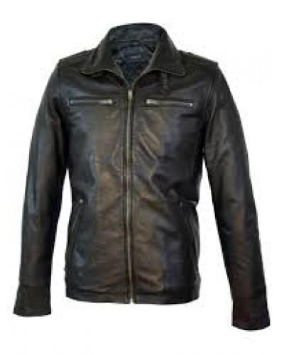 Zwarte Leren heren jas met uitneembare kraag - 100% echt leer