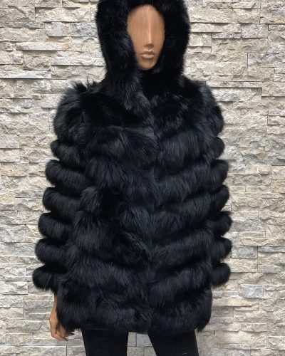 Zwarte dames bontjas vossenbont