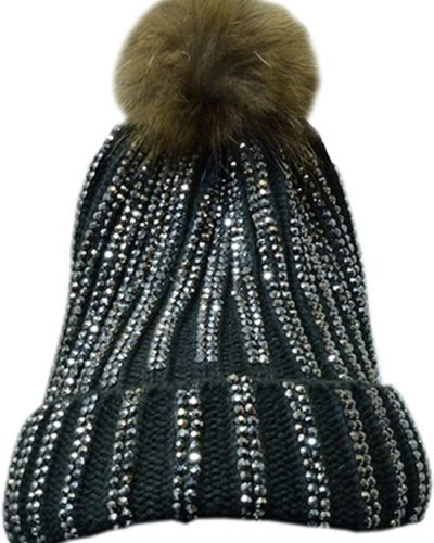 Zwarte glitter muts met afneembare bont pompon
