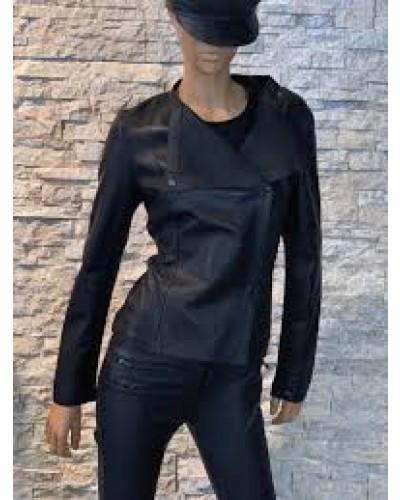 Zwarte korte Leren dames zomerjas - AIM - 100% echt Leer