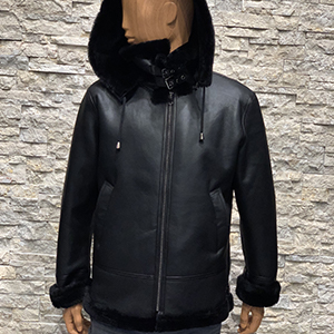Zwarte lammy coat heren echt lamsleer 300x300