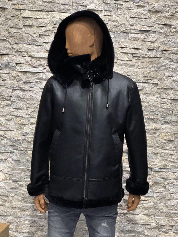 Zwarte lammy coat heren echt lamsleer met capuchon