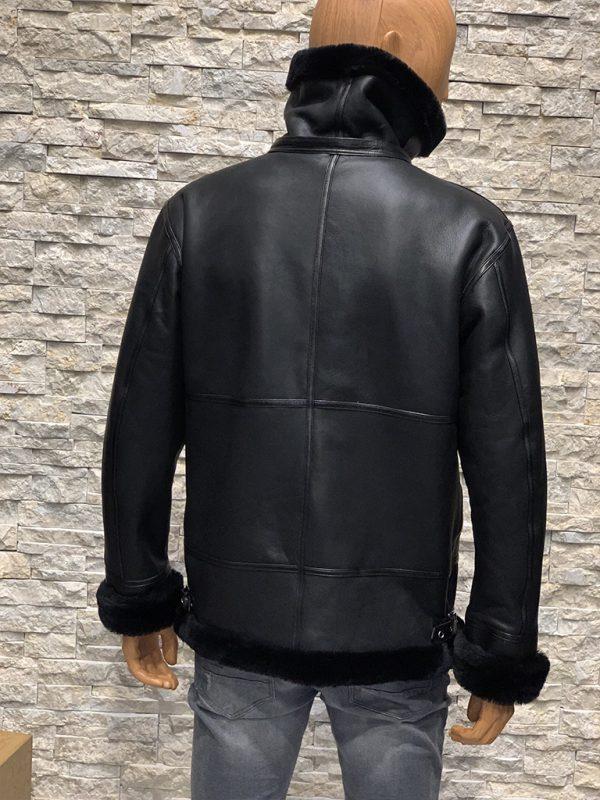 Zwarte lammy coat heren achterkant
