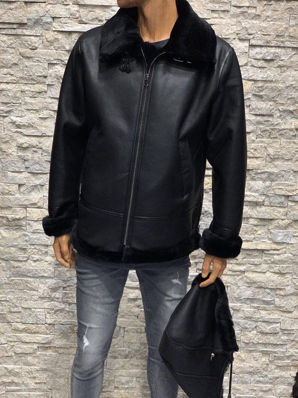 Zwarte lammy coat heren met afneembare capuchon