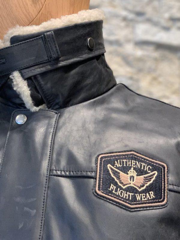 AIM Zwart leren heren piloten jack detail