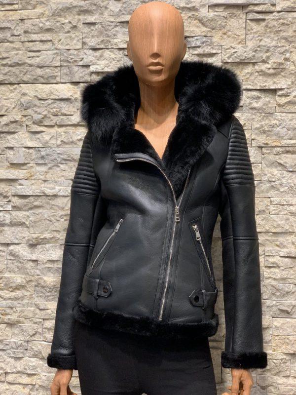 Lammy coat dames zwart met capuchon