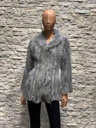 lange Poncho grijze dames - 100% konijnenbont