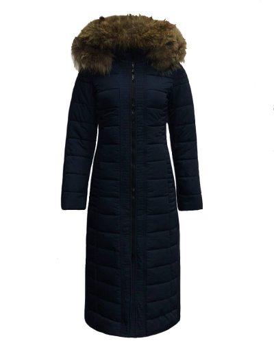 Lange dames winterjas met bontkraag blauw- Moskou bestellen